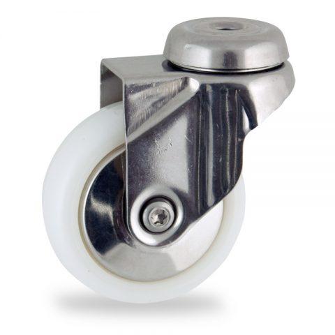 Rueda INOX giratoria  75mm  para  carros,rueda  de  poliamida,eje liso.pasador