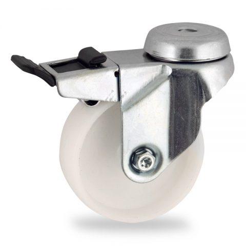 Rueda de acero galvanizado giratoria con freno 50mm  para  carros,rueda  de  poliamida,eje liso.Montaje con pasador