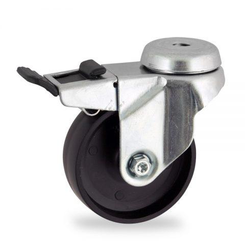 Rueda de acero galvanizado giratoria con freno 125mm  para  carros,rueda  de  polipropileno,eje liso.Montaje con pasador