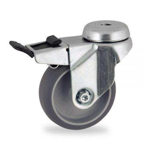 Rueda de acero galvanizado giratoria con freno 50mm  para  carros,rueda  de  goma gris elástica,eje liso.Montaje con pasador
