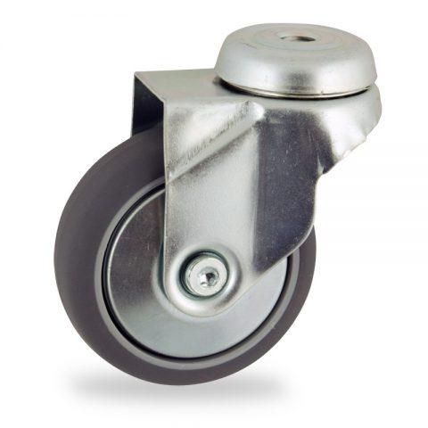 Rueda de acero galvanizado giratoria  100mm  para  carros,rueda  de  goma gris elástica,rodamiento a bolas.Montaje con pasador