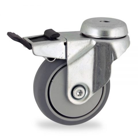 Rueda de acero galvanizado giratoria con freno 75mm  para  carros,rueda  de  goma gris elástica,eje liso.Montaje con pasador