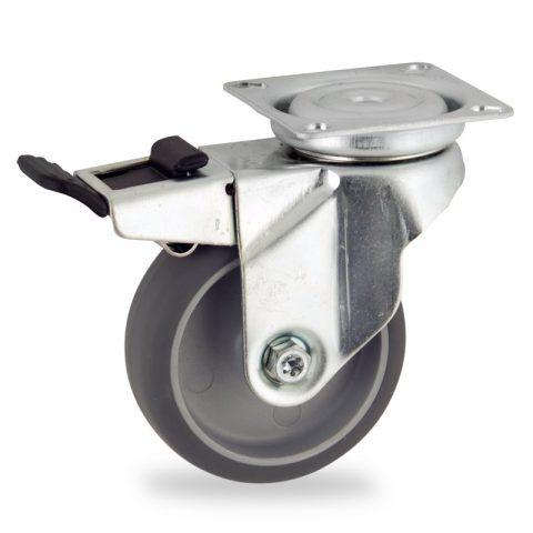Rueda de acero galvanizado giratoria con freno 50mm  para  carros,rueda  de  goma gris elástica,eje liso.Montaje con platina