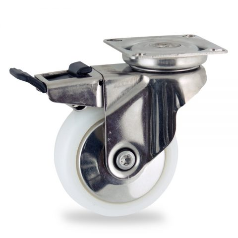 Rueda INOX giratoria con freno 75mm  para  carros,rueda  de  poliamida,eje liso.platina