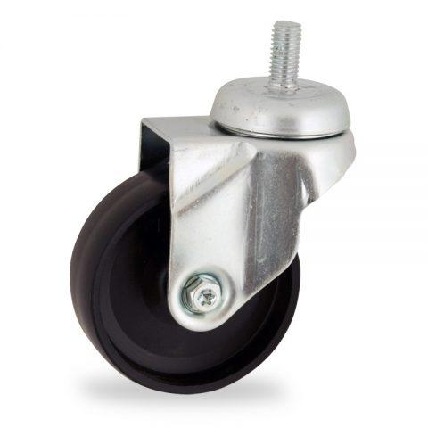 Rueda de acero galvanizado giratoria  50mm  para  carros,rueda  de  polipropileno,eje liso.Montaje con espiga roscada