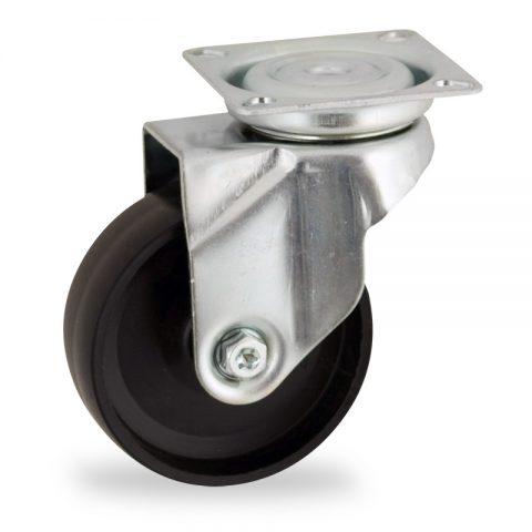 Rueda de acero galvanizado giratoria  125mm  para  carros,rueda  de  polipropileno,eje liso.Montaje con platina
