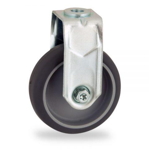 Rueda de acero galvanizado fija  50mm  para  carros,rueda  de  goma gris elástica,eje liso.Montaje con pasador