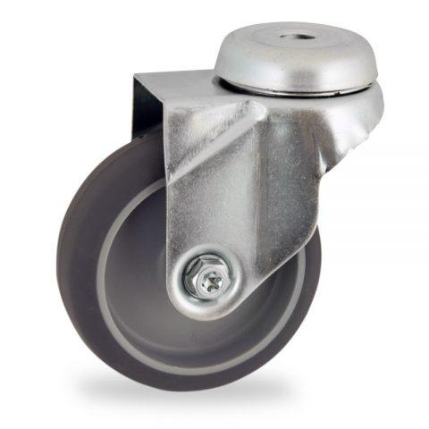 Rueda de acero galvanizado giratoria  50mm  para  carros,rueda  de  goma gris elástica,eje liso.Montaje con pasador