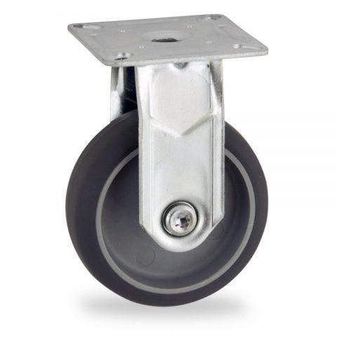 Rueda de acero galvanizado fija  50mm  para  carros,rueda  de  goma gris elástica,eje liso.Montaje con platina