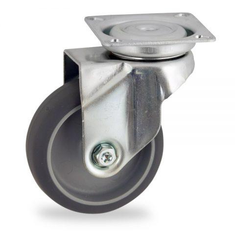 Rueda de acero galvanizado giratoria  50mm  para  carros,rueda  de  goma gris elástica,eje liso.Montaje con platina