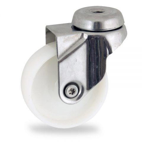 Rueda INOX giratoria  125mm  para  carros,rueda  de  poliamida,eje liso.pasador