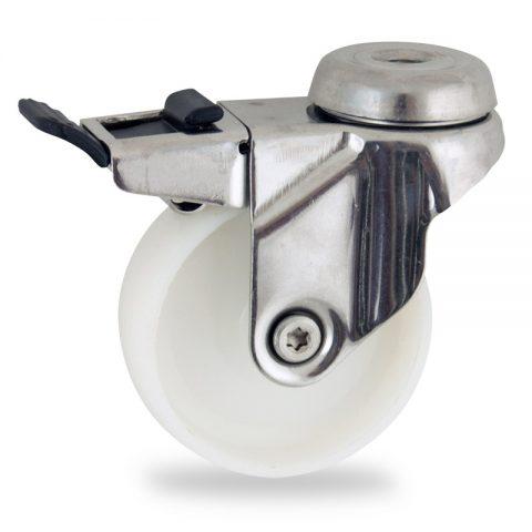 Rueda INOX giratoria con freno 125mm  para  carros,rueda  de  poliamida,eje liso.pasador