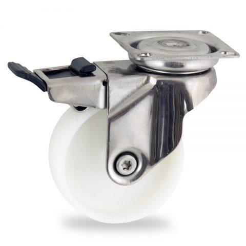 Rueda INOX giratoria con freno 75mm  para  carros,rueda  de  poliamida,eje liso.Montaje con platina
