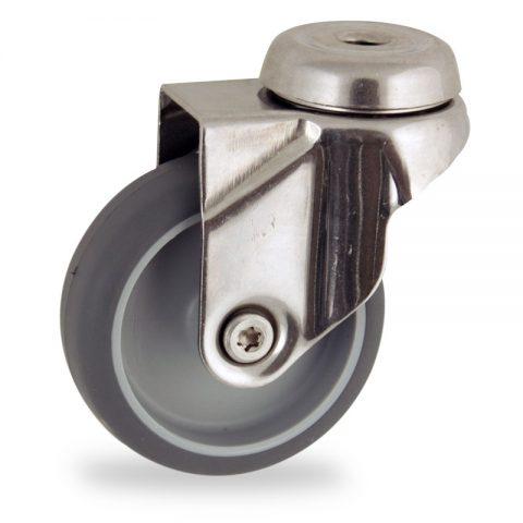 Rueda INOX giratoria  100mm  para  carros,rueda  de  goma gris elástica,eje liso.pasador