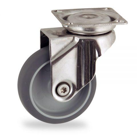 Rueda INOX giratoria  100mm  para  carros,rueda  de  goma gris elástica,eje liso.platina