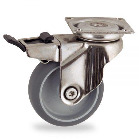 Rueda INOX giratoria con freno 100mm  para  carros,rueda  de  goma gris elástica,eje liso.platina