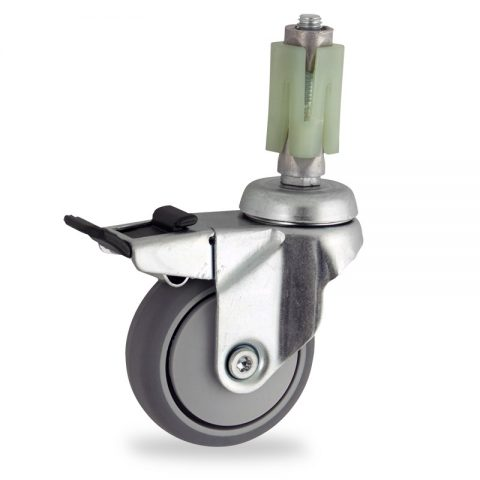 Rueda de acero galvanizado giratoria con freno 75mm  para  carros,rueda  de  goma gris elástica,eje liso.Montaje con expansivos quadrado de plástico 27/31