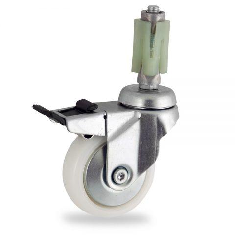 Rueda de acero galvanizado giratoria con freno 75mm  para  carros,rueda  de  poliamida,eje liso.expansivos quadrado de plástico 21/24
