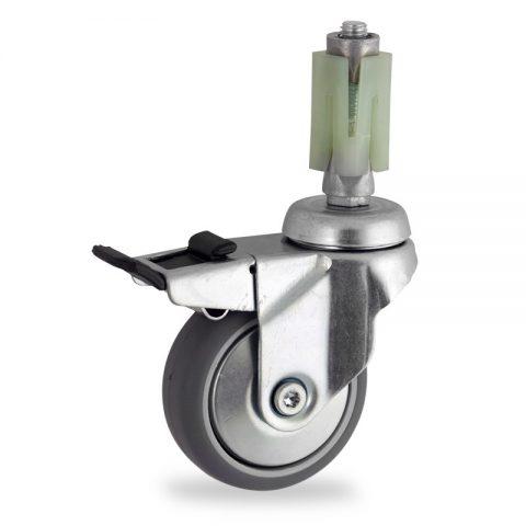 Rueda de acero galvanizado giratoria con freno 50mm  para  carros,rueda  de  goma gris elástica,eje liso.Montaje con expansivos quadrado de plástico 24/27