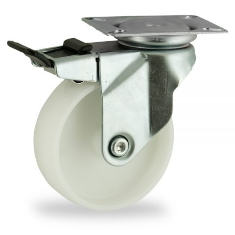 Rueda de acero galvanizado giratoria con freno 150mm  para  carros,rueda  de  poliamida,eje liso.Montaje con platina