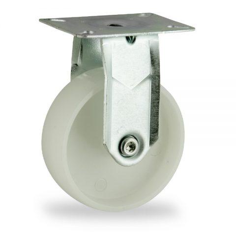 Rueda de acero galvanizado fija  150mm  para  carros,rueda  de  poliamida,eje liso.Montaje con platina