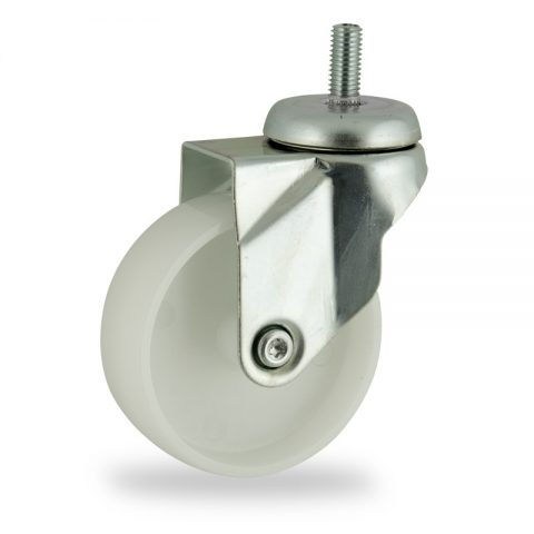 Rueda de acero galvanizado giratoria  100mm  para  carros,rueda  de  poliamida,eje liso.Montaje con espiga roscada