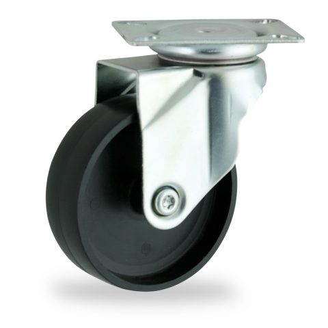 Rueda de acero galvanizado giratoria  150mm  para  carros,rueda  de  polipropileno,eje liso.Montaje con platina
