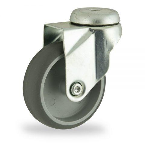 Rueda de acero galvanizado giratoria  125mm  para  carros,rueda  de  goma gris elástica,eje liso.Montaje con pasador