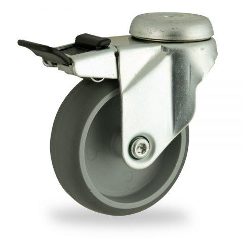 Rueda de acero galvanizado giratoria con freno 125mm  para  carros,rueda  de  goma gris elástica,eje liso.Montaje con pasador