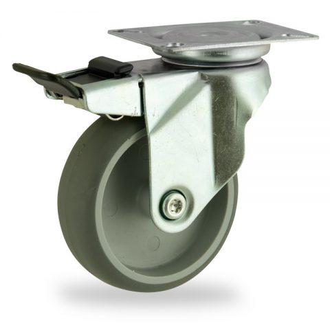 Rueda de acero galvanizado giratoria con freno 125mm  para  carros,rueda  de  goma gris elástica,eje liso.Montaje con platina