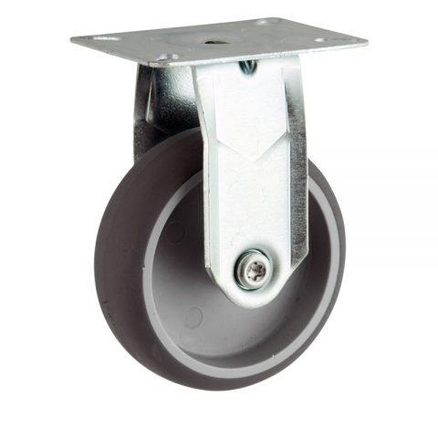 Rueda de acero galvanizado fija  150mm  para  carros,rueda  de  goma gris elástica,eje liso.Montaje con platina