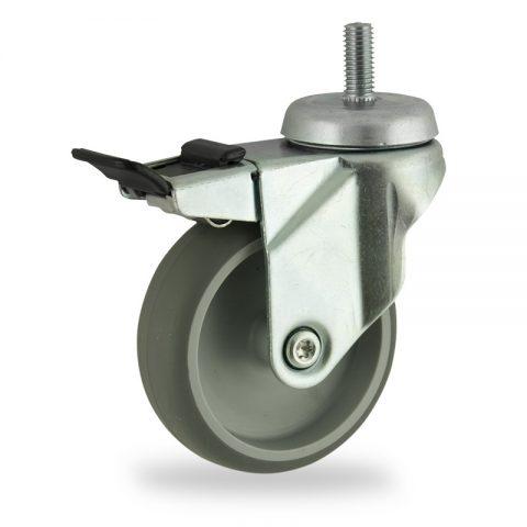 Rueda de acero galvanizado giratoria con freno 75mm  para  carros,rueda  de  goma gris elástica,eje liso.Montaje con espiga roscada