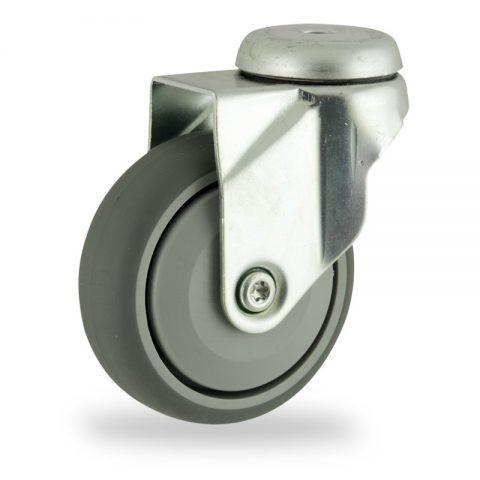 Rueda de acero galvanizado giratoria  125mm  para  carros,rueda  de  goma gris elástica,rodamiento a bolas de precision.Montaje con pasador