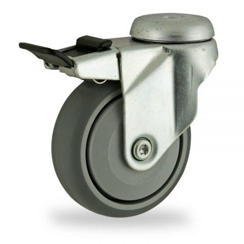 Rueda de acero galvanizado giratoria con freno 100mm  para  carros,rueda  de  goma gris elástica,rodamiento a bolas de precision.Montaje con pasador