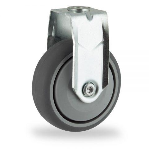 Rueda de acero galvanizado fija  100mm  para  carros,rueda  de  goma gris elástica,rodamiento a bolas de precision.Montaje con pasador