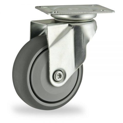 Rueda de acero galvanizado giratoria  125mm  para  carros,rueda  de  goma gris elástica,rodamiento a bolas de precision.Montaje con platina