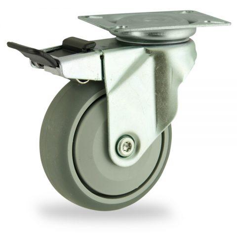 Rueda de acero galvanizado giratoria con freno 125mm  para  carros,rueda  de  goma gris elástica,rodamiento a bolas de precision.Montaje con platina