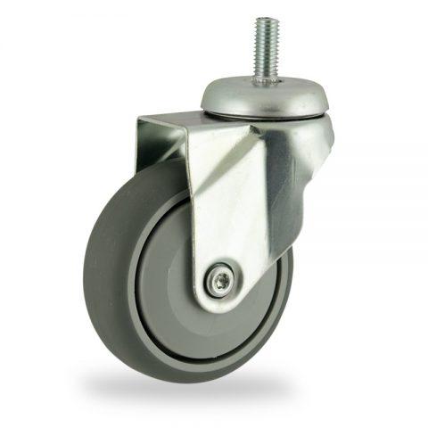 Rueda de acero galvanizado giratoria  125mm  para  carros,rueda  de  goma gris elástica,rodamiento a bolas de precision.Montaje con espiga roscada