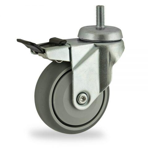 Rueda de acero galvanizado giratoria con freno 100mm  para  carros,rueda  de  goma gris elástica,rodamiento a bolas de precision.Montaje con espiga roscada