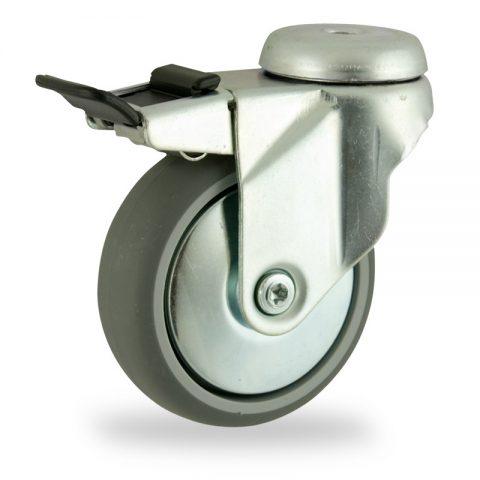 Rueda de acero galvanizado giratoria con freno 150mm  para  carros,rueda  de  goma gris elástica,rodamiento a bolas.Montaje con pasador