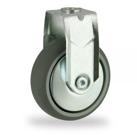Rueda de acero galvanizado fija  100mm  para  carros,rueda  de  goma gris elástica,rodamiento a bolas.Montaje con pasador
