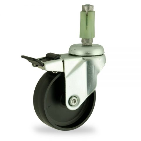Rueda de acero galvanizado giratoria con freno 125mm  para  carros,rueda  de  polipropileno,eje liso.Montaje con expansivos quadrado de plástico 24/27