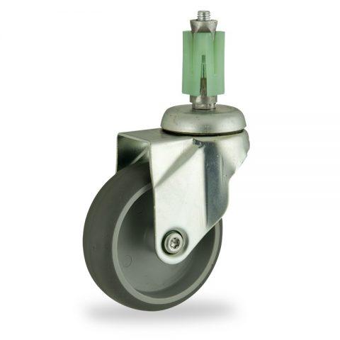 Rueda de acero galvanizado giratoria  150mm  para  carros,rueda  de  goma gris elástica,eje liso.Montaje con expansivos quadrado de plástico 31/35