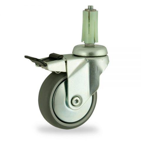 Rueda de acero galvanizado giratoria con freno 125mm  para  carros,rueda  de  goma gris elástica,eje liso.Montaje con expansivos redondo de plástico 19/23