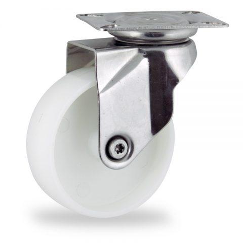 Rueda INOX giratoria  125mm  para  carros,rueda  de  poliamida,eje liso.platina