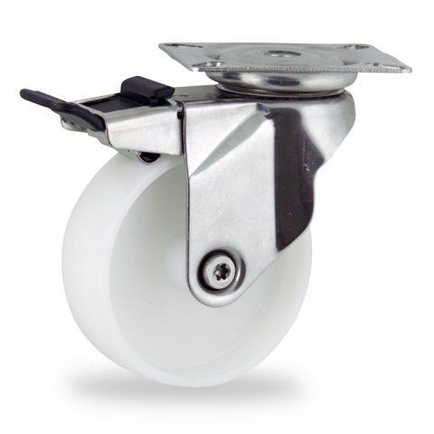 Rueda INOX giratoria con freno 150mm  para  carros,rueda  de  poliamida,eje liso.Montaje con platina