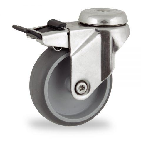 Rueda INOX giratoria con freno 100mm  para  carros,rueda  de  goma gris elástica,eje liso.Montaje con pasador