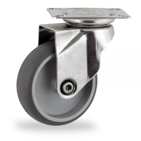 Rueda INOX giratoria  125mm  para  carros,rueda  de  goma gris elástica,eje liso.platina