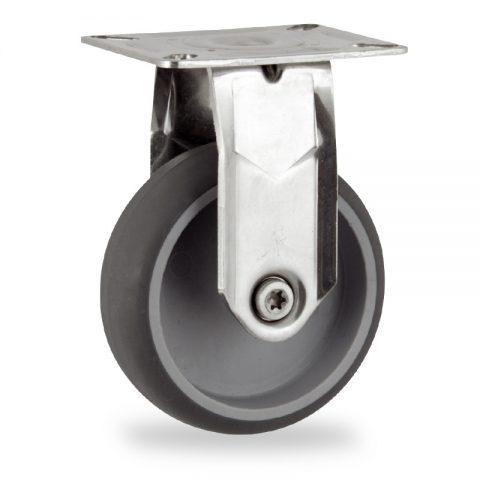 Rueda INOX fija  100mm  para  carros,rueda  de  goma gris elástica,eje liso.Montaje con platina