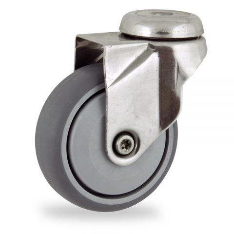 Rueda INOX giratoria  125mm  para  carros,rueda  de  goma gris elástica,rodamiento a bolas de precision.Montaje con pasador